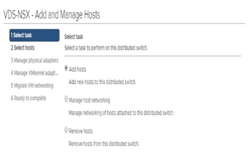 VDS-NSX Add and Manage Hosts
