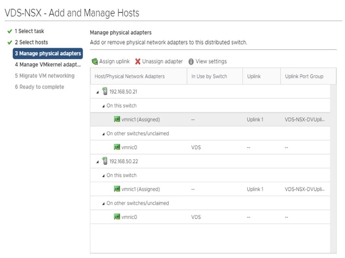 VDS-NSX Manage physical adapters