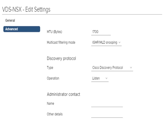 VDS-NSX Edit Settings