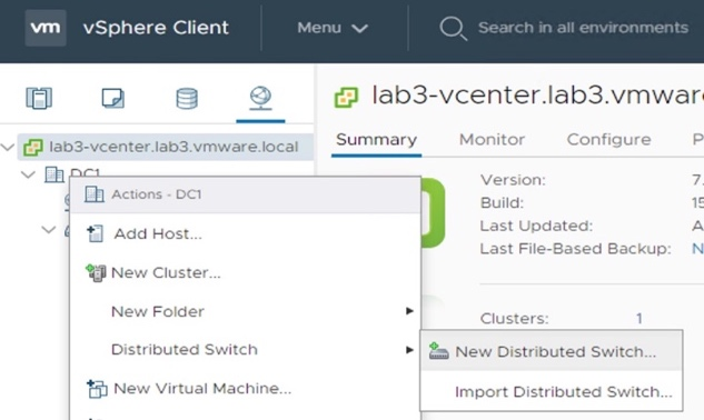 Create New VDS-NSX (for future NSX-T Logical Switches).