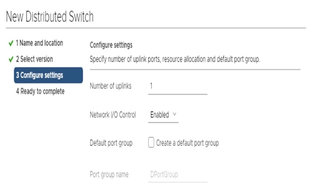 New Distributed Switch Configure settings