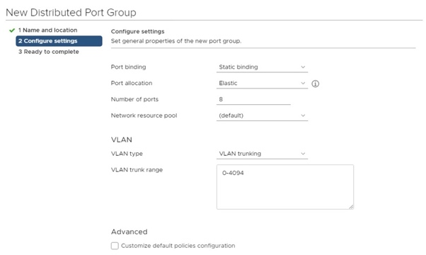 New Distributed Port Group configure settings