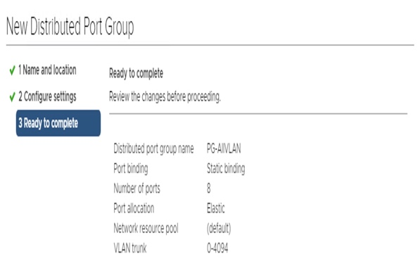 New Distributed Port Group ready to complete