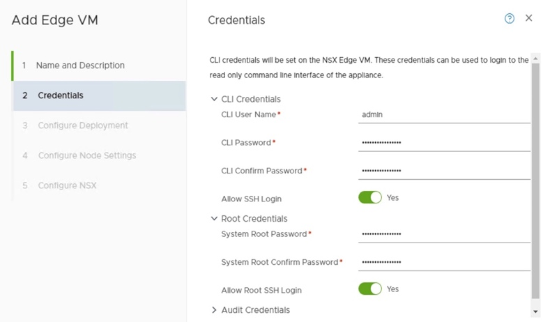 Add Edge VM Credentials