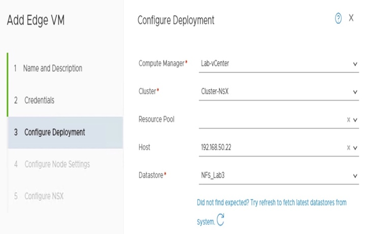Add Edge VM Configure Deployment