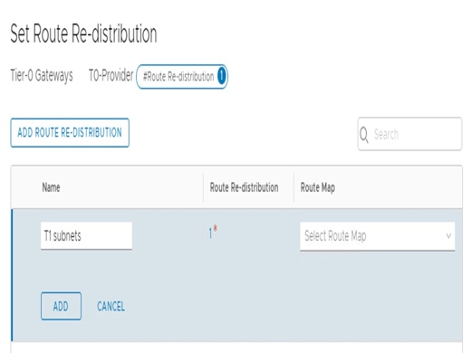"Configure T0-Provider ""Route Distribution""."