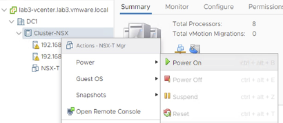 Once NSX-T Manager deployment is finished, start the VM.